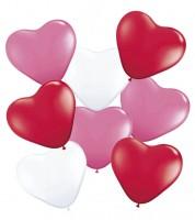 Herz-Luftballon-Set - rot/pink/weiß - 8-teilig