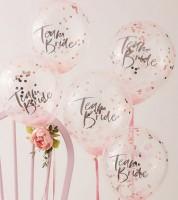 "Transparente Ballons mit Konfetti ""Team Bride"" - 5 Stück"