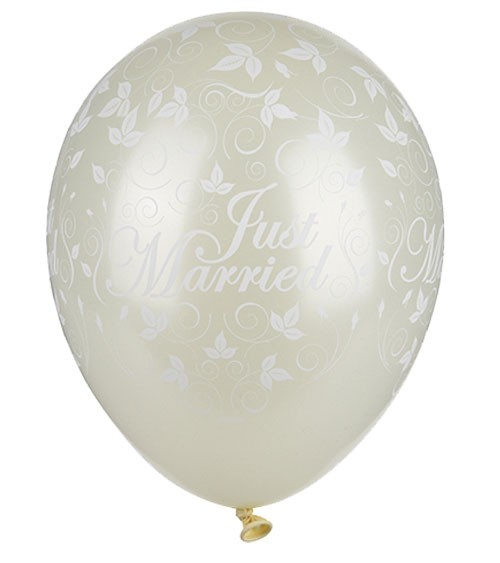 """Metallic-Luftballons """"Just Married"""" - elfenbein - 30 Stück"""