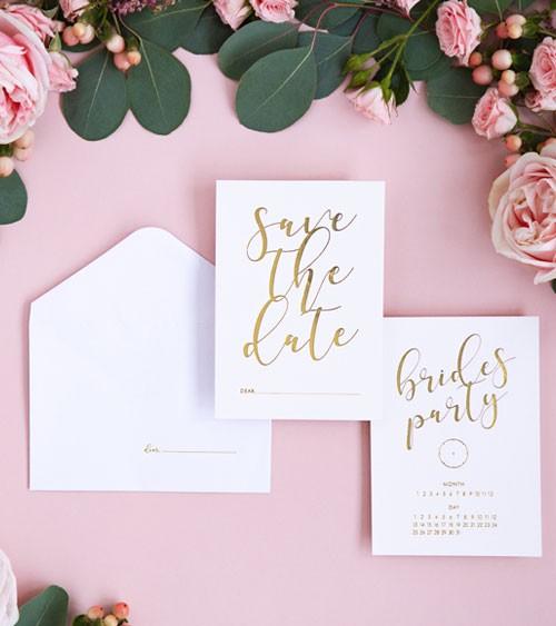 """Einladungskarten """"Brides Party"""" - Weiß & Gold - 10 Stück"""