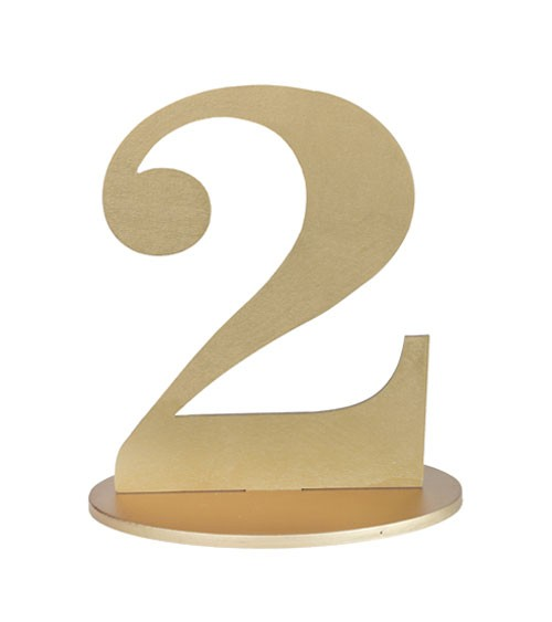 "Zahl aus Holz ""2"" - gold - 11,5 x 16 cm"
