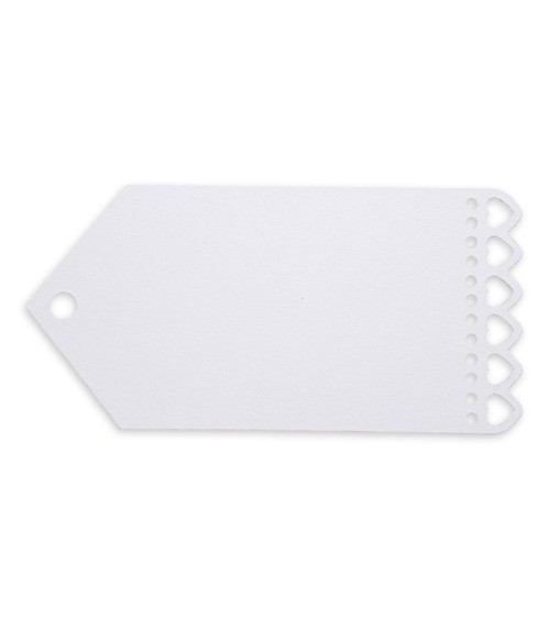 Breite Geschenkanhänger mit Herzen - weiß - 10 Stück