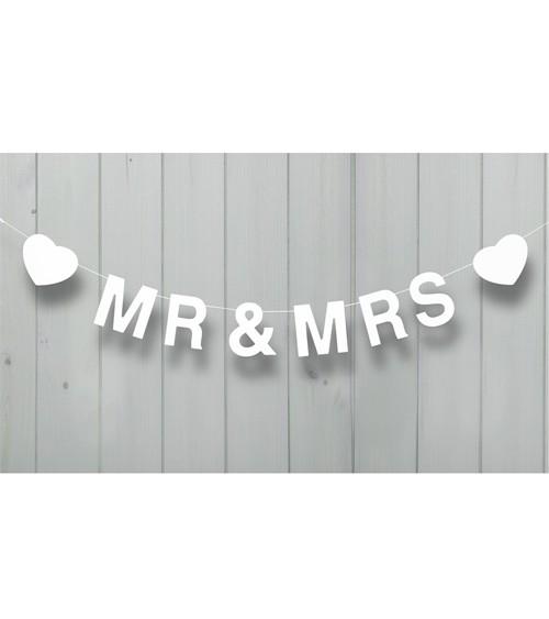 """Holzgirlande """"Mr & Mrs"""" mit Herzen - 1,2 m - weiß"""