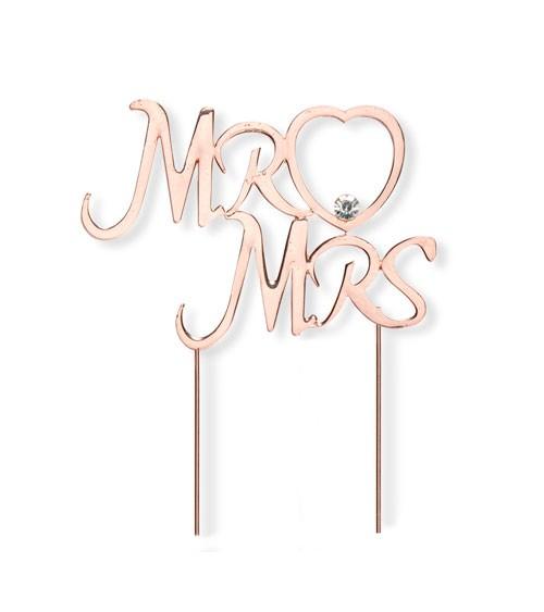 """Deko-Stecker mit Strass """"Mr & Mrs"""" - rosegold - 10,2 cm"""