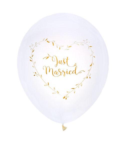 "Just Married-Luftballons ""Gold & White"" - 8 Stück"