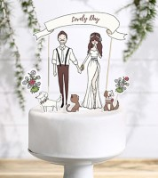 "Tortenstecker aus Papier ""Lovely Day"" - 7-teilig"