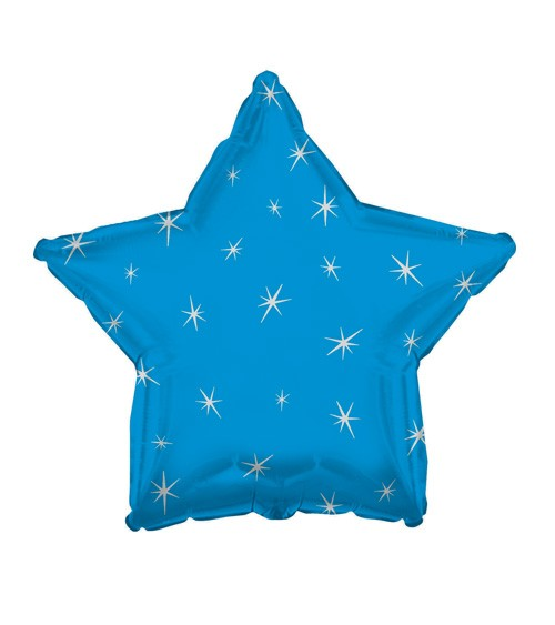 Stern-Folienballon mit Sternen - türkisblau
