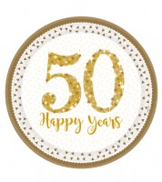 "Pappteller ""50 Happy Years"" - holographic - 8 Stück"