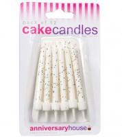 Kuchenkerzen mit Glitter - weiß - 12 Stück