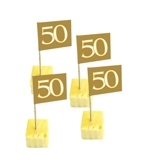 "Party-Picks ""50"" - gold - 50 Stück"