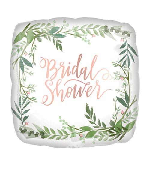 """Eckiger Folienballon """"Love & Leaves"""" - Bridal Shower - 45 cm"""