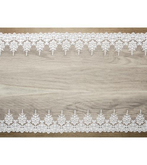 Spitzen-Tischläufer mit Ornamenten - weiß - 45 cm x 9 m