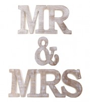 "Holzbuchstaben ""Mr & Mrs"" - Vintage Antique"