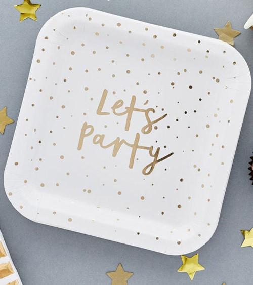 "Pappteller ""Lets Party"" - gold - 10 Stück"