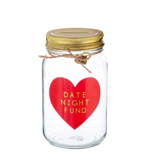 """Spardose aus Glas """"Date Night Fund"""""""