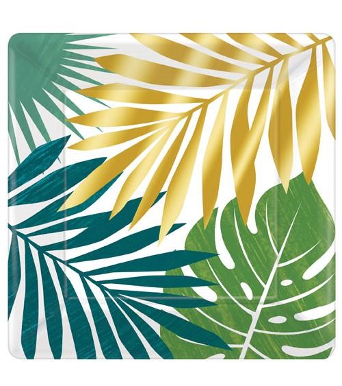 """Große eckige Pappteller """"Tropical Gold"""" - 8 Stück"""