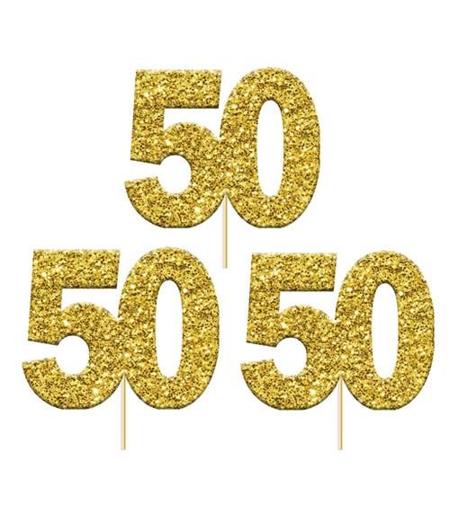 "Cupcake-Topper Zahl ""50"" - glitter gold - 12 Stück"