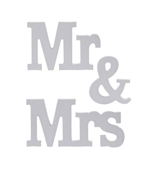 "Holzbuchstaben ""Mr & Mrs"" - grau - 3-teilig"