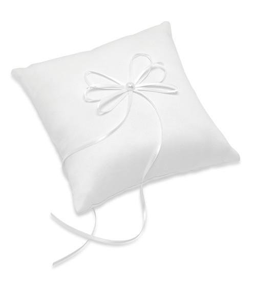 Ringkissen aus Satin mit Schleife - weiß - 19,5 x 19,5 cm