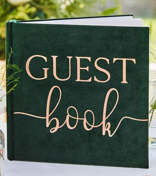 Hochzeits-Gästebuch mit grünem Samteinband - 21 x 21 cm