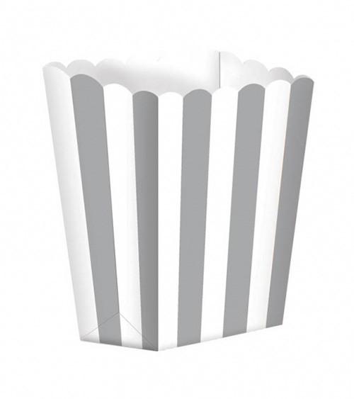 Popcornboxen mit Streifen - silber - 5 Stück