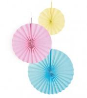 Papierfächer-Set - hellblau, rosa, gelb - 3-teilig