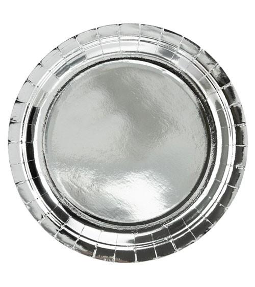 Pappteller - metallic silber - 6 Stück