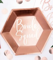 """Eckige Pappteller """"Bride Squad"""" - rosegold - 6 Stück"""