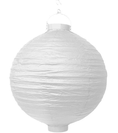 Papierlampion mit Beleuchtung - weiß - 30 cm