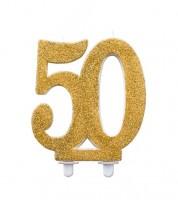 "Kuchenkerze mit Glitter ""50"" - gold - 12 cm"