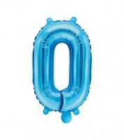 "Folienballon Zahl ""0"" - blau - 35 cm"