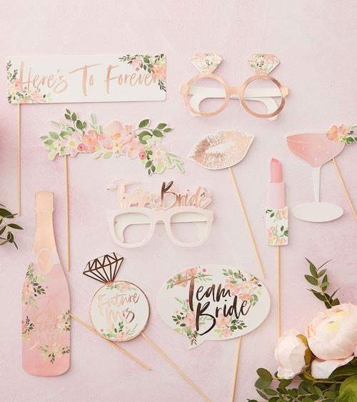 "Photobooth-Set ""Florale Brautparty"" - 10-teilig"