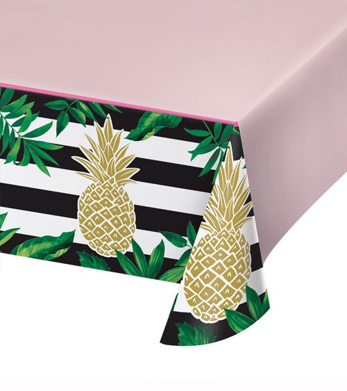 "Kunststoff-Tischdecke ""Goldene Ananas"" - 137 x 259 cm"