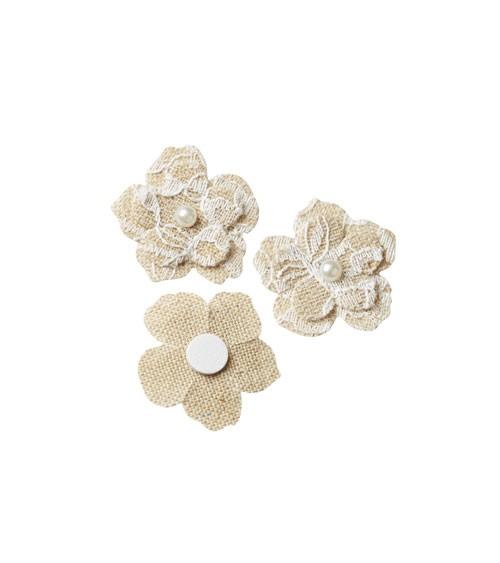"""Streuteile """"Blume mit Spitze"""" mit Klebepunkt - 3 cm - 4 Stück"""