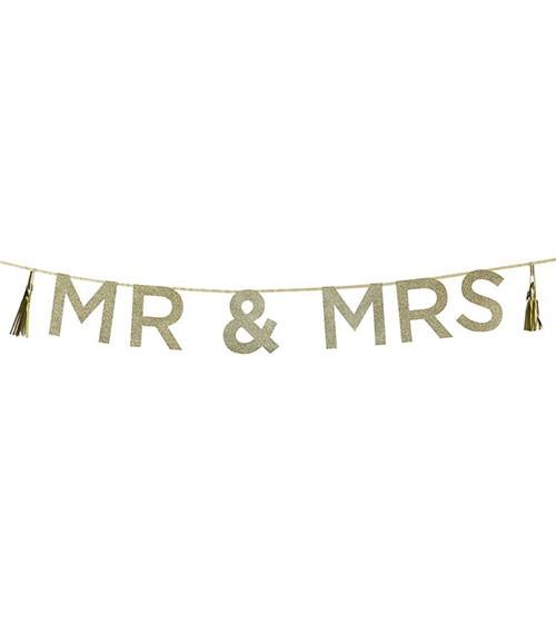 """Glitzer-Schriftzuggirlande """"Mr & Mrs"""" - 2 m"""