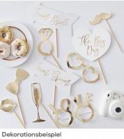 "Photobooth-Set ""Gold Wedding"" - 10-teilig"