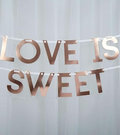 """Love is sweet""-Schriftzuggirlande - rosegold - 1,5 m"