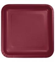 Eckige Pappteller - burgund - 18 Stück