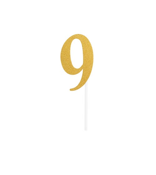 "Kuchen-Topper-Zahl aus Pappe ""9"" - glitter gold - 4,5 x 8 cm"