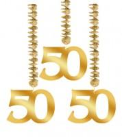 """Spiralgirlanden """"50"""" - gold - 3 Stück"""