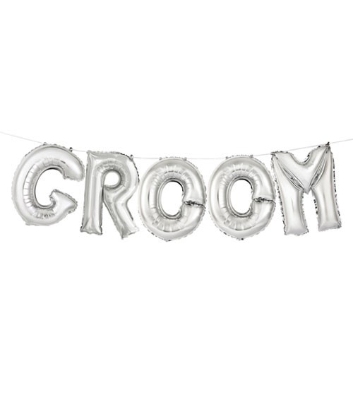 "Folienballon-Set ""Groom"" - silber"