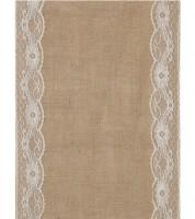 Tischläufer aus Jute mit Spitze - weiß - 28 cm x 2 m