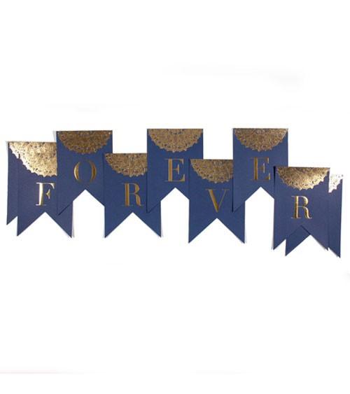 "Schriftzuggirlande ""Forever"" - navy/gold - 10-teilig"