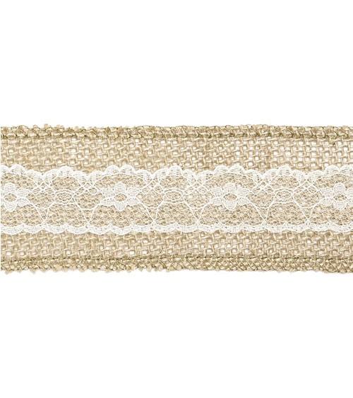 Juteband mit weißer Spitze - 5 cm x 5 m