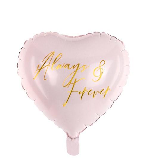 """Herz-Folienballon """"Always & Forever"""" - rosa, gold - 45 cm"""