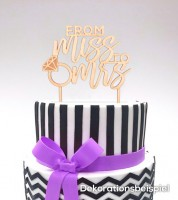 """Cake-Topper """"From Miss to Mrs - Diamantring"""" aus Holz"""