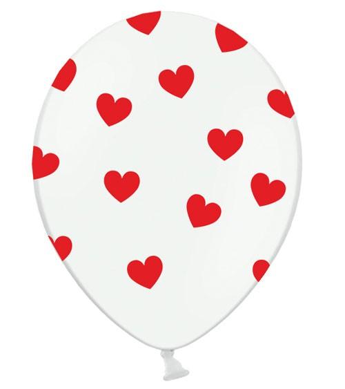 """Luftballons """"Rote Herzen"""" - weiß - 6 Stück"""