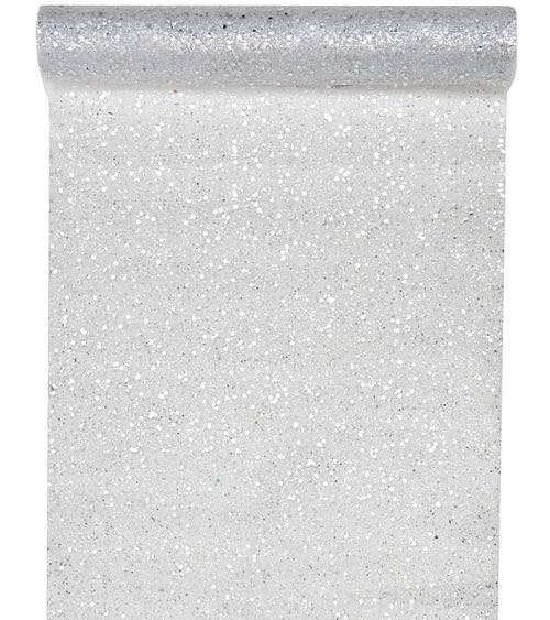 Tischläufer aus Tüll - glitter silber - 30 cm x 5 m