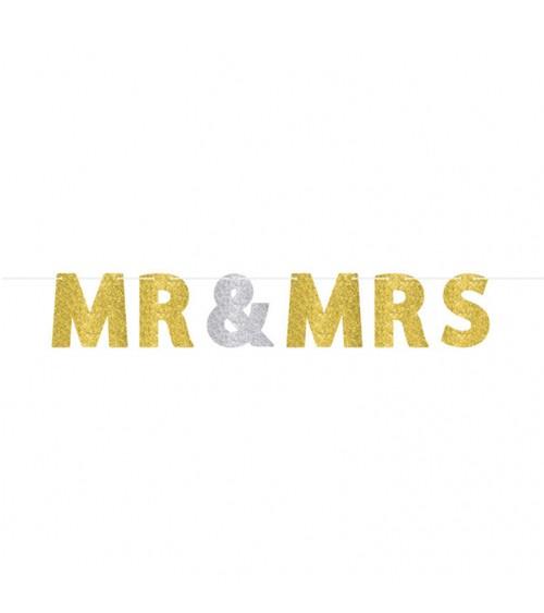 """Glitzergirlande """"Mr & Mrs"""" - gold/silber"""