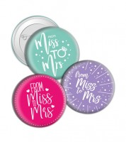 "Button ""From Miss to Mrs"""